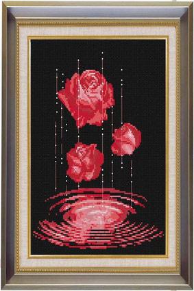 雨中玫瑰 红【十字绣图案大全】